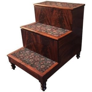 19th Century American Southern Flame Mahogany Bed Steps