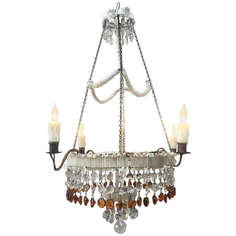 19th Century Italian Empire Venetian Opaline Glass and Amber Crystal Chandelier
