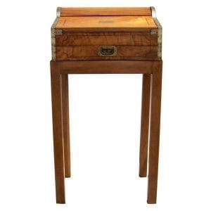 19th Century China Trade Roll Top Lap Desk on Stand