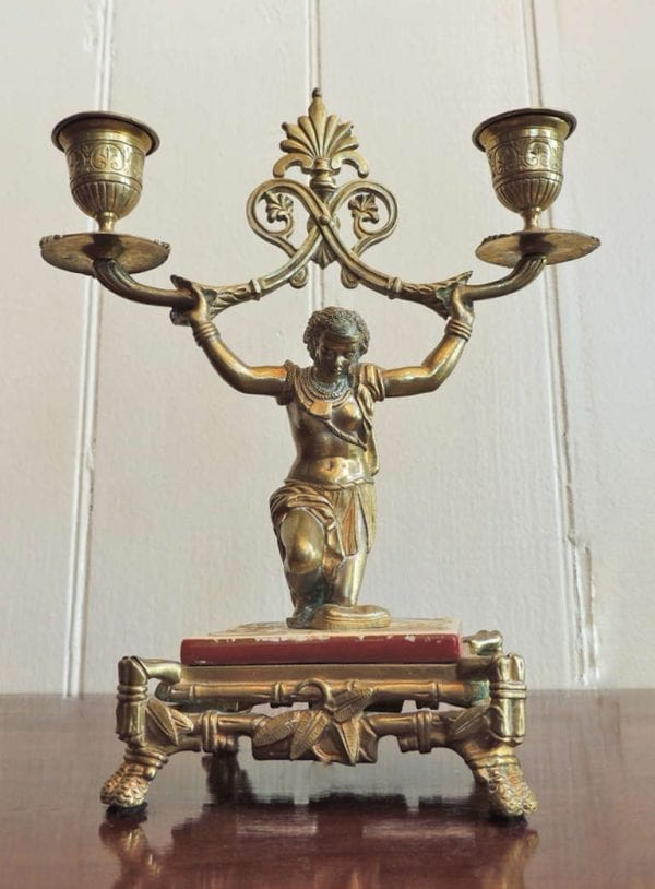 19th Century English Regency Bronze Candlesticks