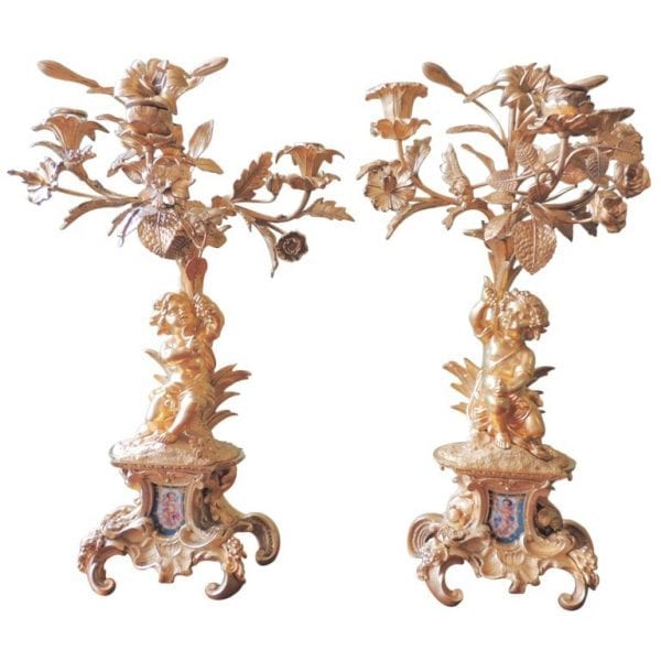 19th Century French Sèvres and Bronze Doré Candelabras