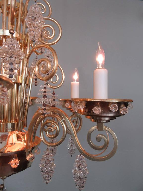 20th Century French Art Deco Bronze and Glass Chandelier by Glass Artist Sabino