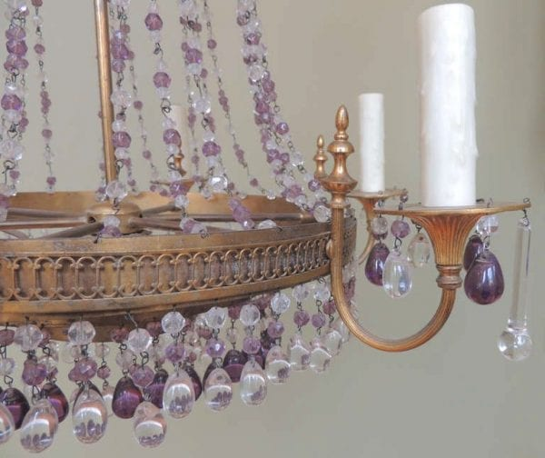 20th Century Italian Brass and Crystal Chandelier