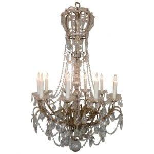 20th Century Italian Crystal and Brass Coronation Chandelier