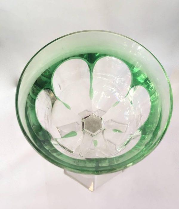 Set of Eight Osram Val Saint Lambert Green Wine Glasses