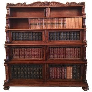 19th Century West Indies Bajan Rosewood Tiered Bookcase with Shell Motif