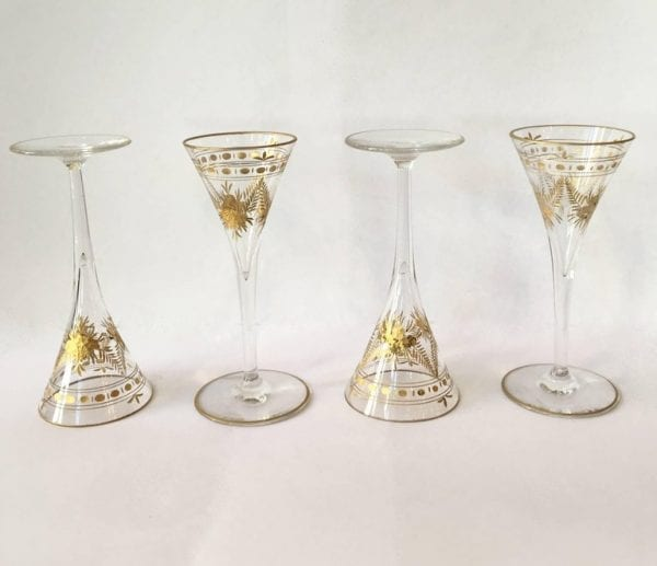 Mid-19th Century Gold Etched Drinking or Liqueur Glasses