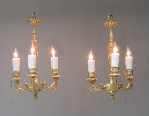 Diminutive Pair of 19th Century French Louis XIV Bronze Doré Chandeliers