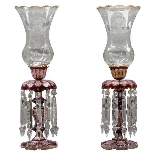 Pair of 19th Century Baccarat Cranberry Crystal Lusters with Hurricanes