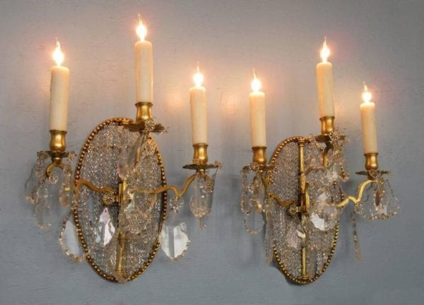 Pair of 19th Century Italian Neoclassical Crystal Medallion Back Sconces